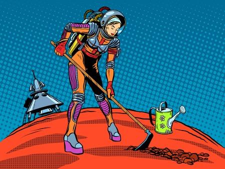 Meisje astronaut ecologie verzorgen van planten planeet pop art retro stijl. De verkenning van Mars en andere planeten. Dag van de Aarde. Ecologie en natuur. Toekomst en science fiction. Ruimtereis