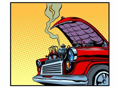 Carro quebrado capô aberto motor fumaça pop art estilo retro. Um carro retrô Transporte e estrada. Seguros e acidentes