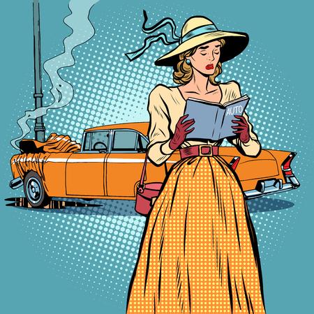 Woman crash car retro funny pop art retro style. Transport and cars. Repairs and insurance. Manual for repair Vectores