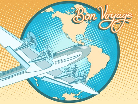 Bon voyage abstract retro plane poster pop art retro style. Air transport. Travel and tourism. Have a safe flight.