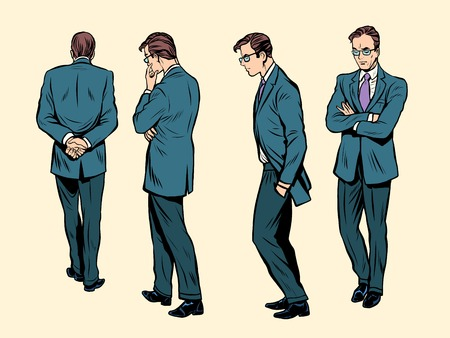 man meditating: Poses of a walking human thinking pop art retro style. The man is a businessman. Businessman concept. The copywriter comes up with the idea.