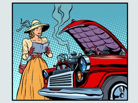 Smutna kobieta kierowca w pobliżu rozbitego samochodu w stylu pop art retro. Instrukcja naprawy. Retro samochodu. Panie i technika