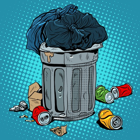 prullenbak blikjes ecologie recycling pop art retro stijl. Garbage en milieuproblemen. Vervuiling van het stedelijk milieu en de planeet. afval man