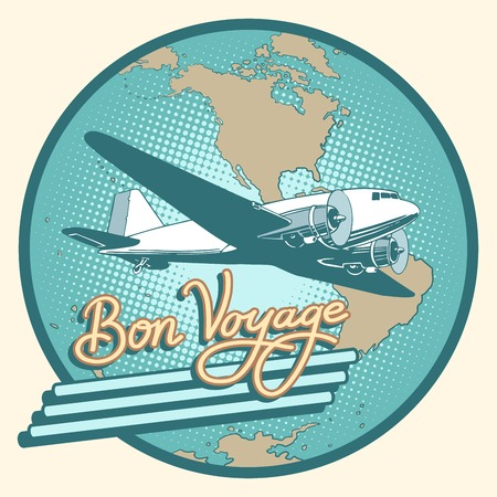 bon: Bon voyage abstract retro plane poster pop art retro style. Air transport. Travel and tourism. Have a safe flight. Map of North and South America, Antarctica Illustration