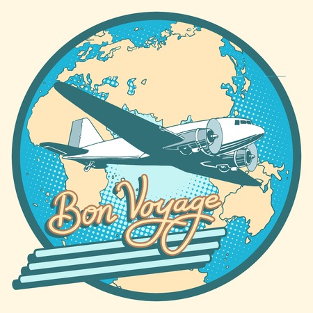 voyage: Bon voyage abstract retro plane poster pop art retro style. Air transport. Travel and tourism. Have a safe flight. Map of Eurasia, Africa and Australia Illustration