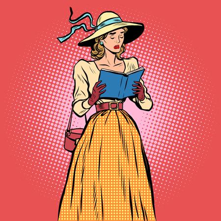 novels: Girl reading a book pop art retro style. A sad book. Love affair. Retro lady Illustration