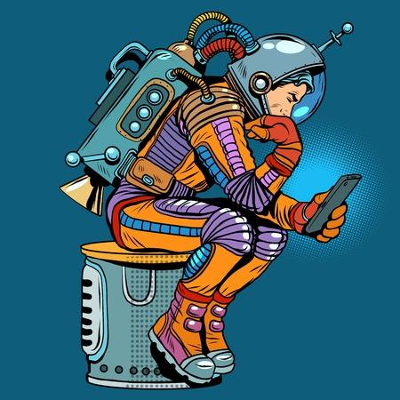 retro astronaut met een smartphone pop art retro stijl. Stock Illustratie