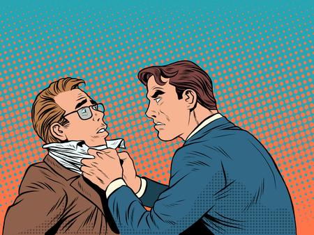 Conflict mannen vechten ruzie zakenman pop art retro stijl. Emoties en criminaliteit. De klant en de ondernemer