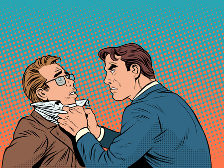 Conflict men fight quarrel businessman pop art retro style. Emotions and crime. The customer and the businessman Vettoriali