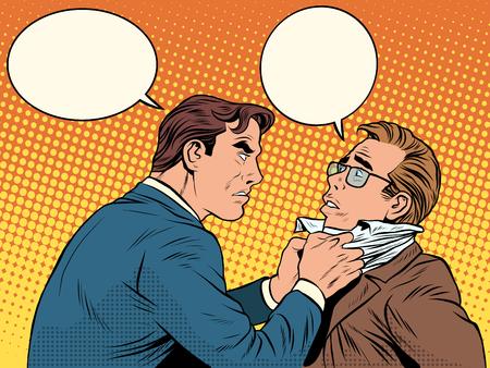 Conflict mannen vechten ruzie zakenman pop art retro stijl. Emoties en criminaliteit. De klant en de ondernemer met bubbels voor tekst
