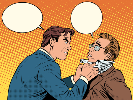 fight: Conflict men fight quarrel businessman pop art retro style. Emotions and crime. The customer and the businessman with bubbles for text