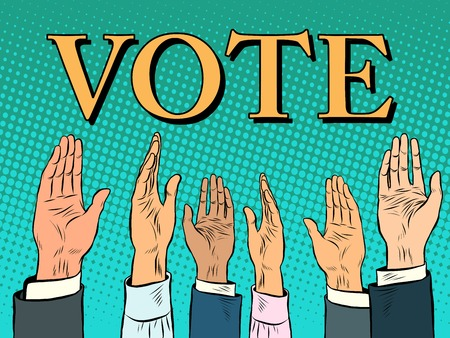 democracia: mano de votación recoge una voz de estilo retro del arte pop de apoyo. Política elecciones califican de democracia Vectores