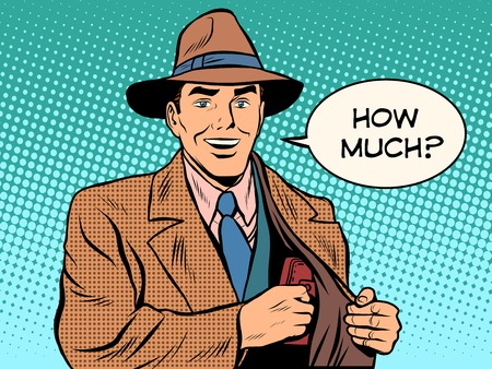 hoeveel geld portemonnee mannelijke zakenman pop art retro stijl. De koper betaalt contant geld voor de goederen. Stock Illustratie