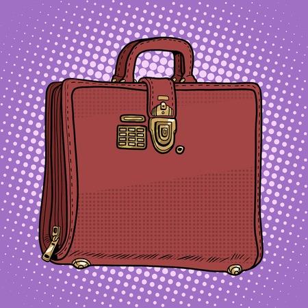 leather bag: Case leather bag business businessman style pop art retro style. Secret lock with key. Business documents