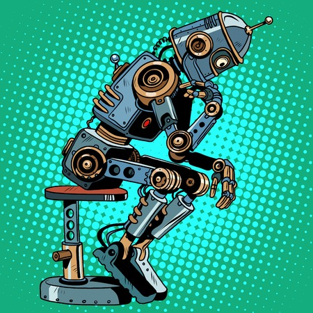 thinker: Robot thinker artificial intelligence progress pop art retro style. Antique pose. science fiction and the robot character.