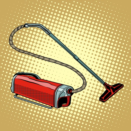 vac: Retro vacuum cleaner home appliances pop art retro style. Cleanliness and housekeeping. A symbol of purity. Vector vacuum cleaner.