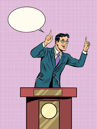 politician: Emotional politician, electoral debates pop art retro style. Retro vector illustration. Man businessman speaking at the podium. Emotional speech