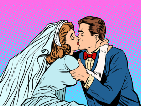 the groom: The bride and groom kiss pop art retro style. Man and woman at the wedding. Love couple