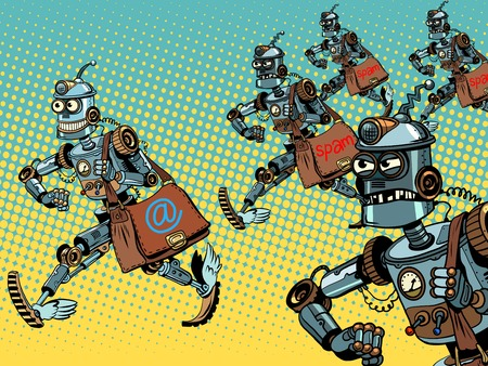 Robot mailman e-mail campaigns pop art retro style. Internet correspondence. Advertising mailing. Spam and malicious email