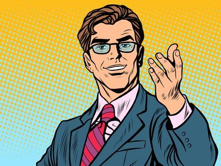 Friendly man businessman pop art retro style. Retro businessman. Vector illustration