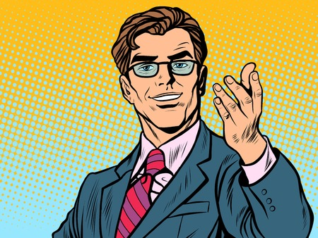 Friendly man businessman pop art retro style. Retro businessman. Vector illustration