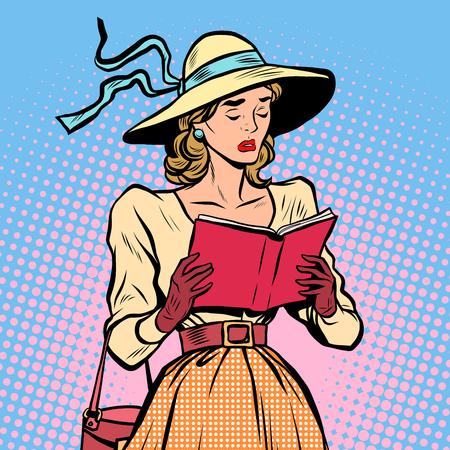 pop culture: Vintage girl reading a book pop art retro style. Sad novel. Literature and culture Illustration