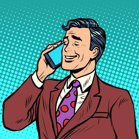 電話ポップアートのレトロなスタイルで話しているビジネスマン。スマート フォンと通信します。現代の技術