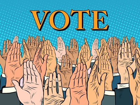 voter: Hands up voting for the candidate pop art retro style. Politics and elections. Political campaign. Full support for the voter Illustration