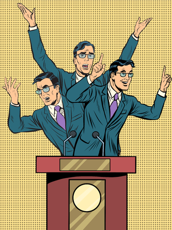 senate: Emotional speaker at the podium pop art retro style. Policy and electoral debates. Retro vector illustration