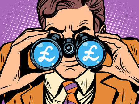 trader: Monitoring the currency pound exchange rate pop art retro style. A man looks through binoculars. The trader on the exchange Illustration