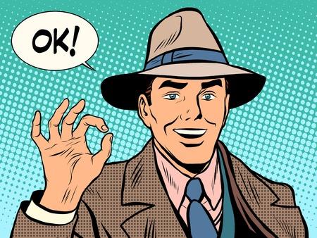 hombre con sombrero: AUTORIZACIÓN del gesto del hombre retro del estilo retro pop art hombre de negocios. gesto de negocios. Caballero retro. Sombrero y la capa