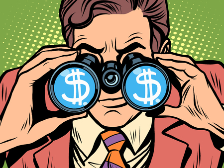 trader: Monitoring the currency dollar exchange rate pop art retro style. A man looks through binoculars. The trader on the exchange Illustration