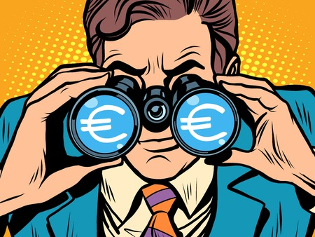 trader: Monitoring the currency Euro exchange rate pop art retro style. A man looks through binoculars. The trader on the exchange Illustration