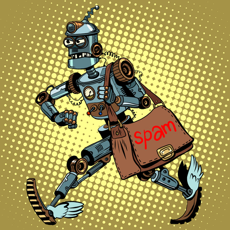 ddos: Electronic spam robot postman email pop art retro style. Malicious newsletter. Spam advertising. Garbage emails