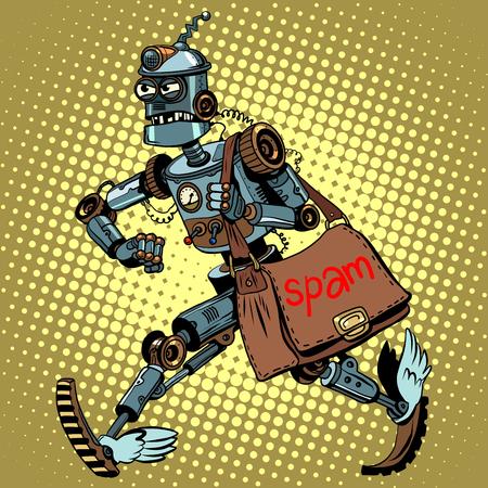 cartero: estilo electrónico robot de spam de correo electrónico cartero pop retro del arte. boletín malicioso. spam publicitario. mensajes de correo electrónico basura Vectores