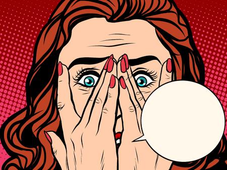 Przerażona wstrząśnięty dziewczyna pop stylu retro. Tekst bąbla komiksu. Twarz kobiety emocji