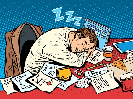 Man businessman sleeping on the job pop art retro style. Hard work. Later in the meeting. Businessman at work Vettoriali