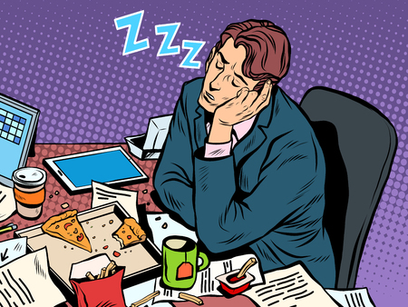 day book: Man businessman sleeping on the job pop art retro style. Hard work. Later in the meeting. Businessman at work Illustration