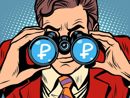 stagnation: Monitoring ruble currency exchange rate pop art retro style. A man looks through binoculars. The trader on the exchange