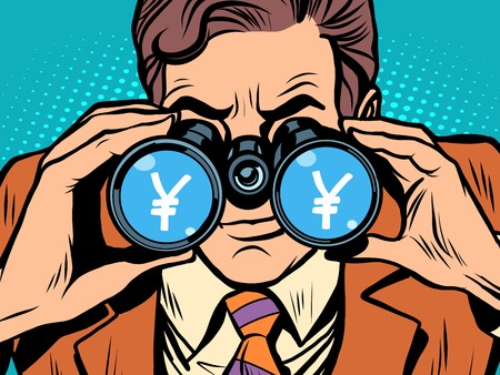 trader: Monitoring yen currency exchange rate pop art retro style. A man looks through binoculars. The trader on the exchange