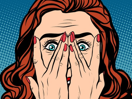 Frightened shocked girl pop art retro style. The face of a woman emotions