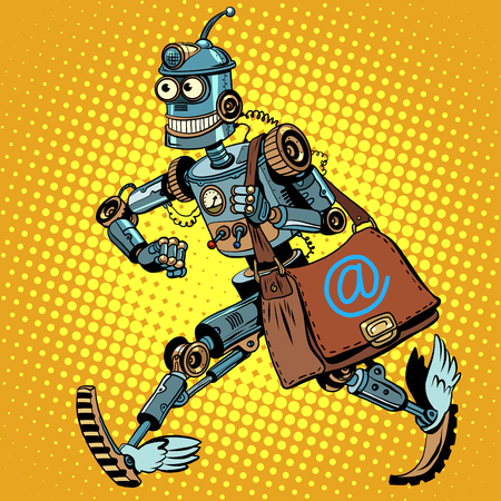 robots: Automatic mailing of the robot pop art retro style. business mailing. Advertising mailing. E-mail. Robot mailman