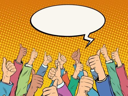 Las manos en el aire como voces apoyan el estilo pop art retro. Elección de campaña política. A la red social le gusta la aprobación. Apoye bien el concepto de negocio