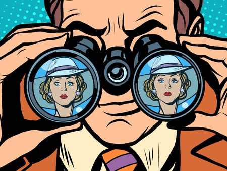 몇 사람이 여자를 쌍안경 예술 스타일의 복고풍 팝 사랑. 사랑과 질투. 감시
