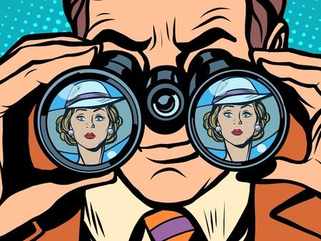 jealousy: Love couple man woman binoculars pop art style retro. Love and jealousy. Surveillance