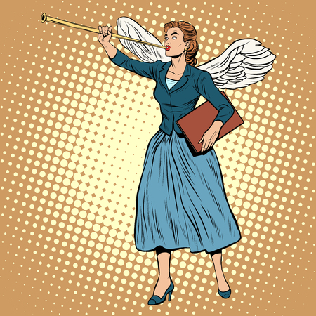 herald: Goddess of victory businesswoman concept pop art style retro. The ancient myth. A symbol of victory and success. Good news. The Herald angel