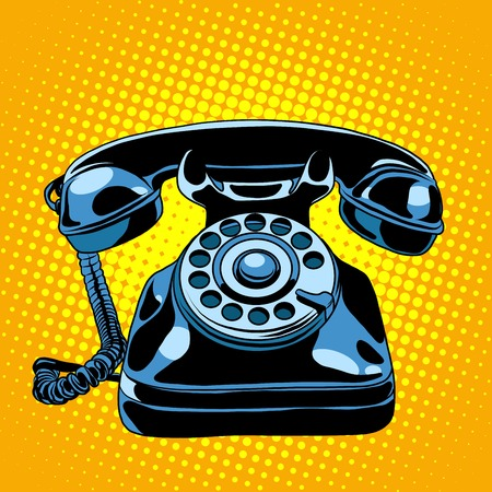 vintage telephone: Black retro phone pop art style retro. Communication and gadgets. Talking on the phone Stock Photo