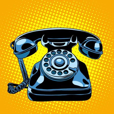 Black retro phone pop art style retro. Communication and gadgets. Talking on the phone Archivio Fotografico