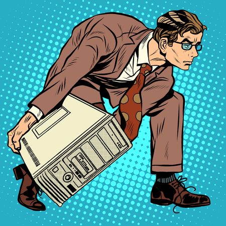 it tech: Computer tech weapon men pop art retro style. A man picks up a computer to throw it. Programmer and technology