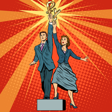 worker man: Businessman and businesswoman with ruble yen money pop art retro style. A parody of Soviet sculpture worker and kolkhoz woman. Socialist realism. The business concept of financial success Illustration